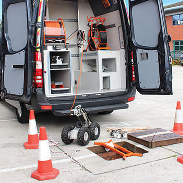 CCTV Drainage survey from a company van by KTCivils Drain Services Derby